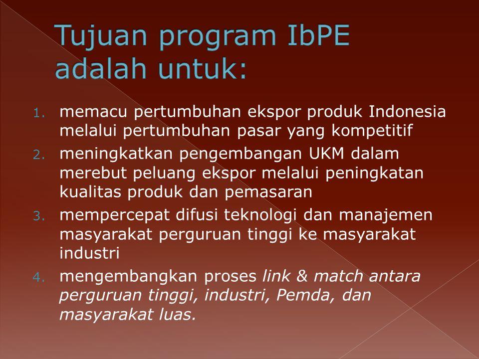 Tujuan program IbPE adalah untuk: