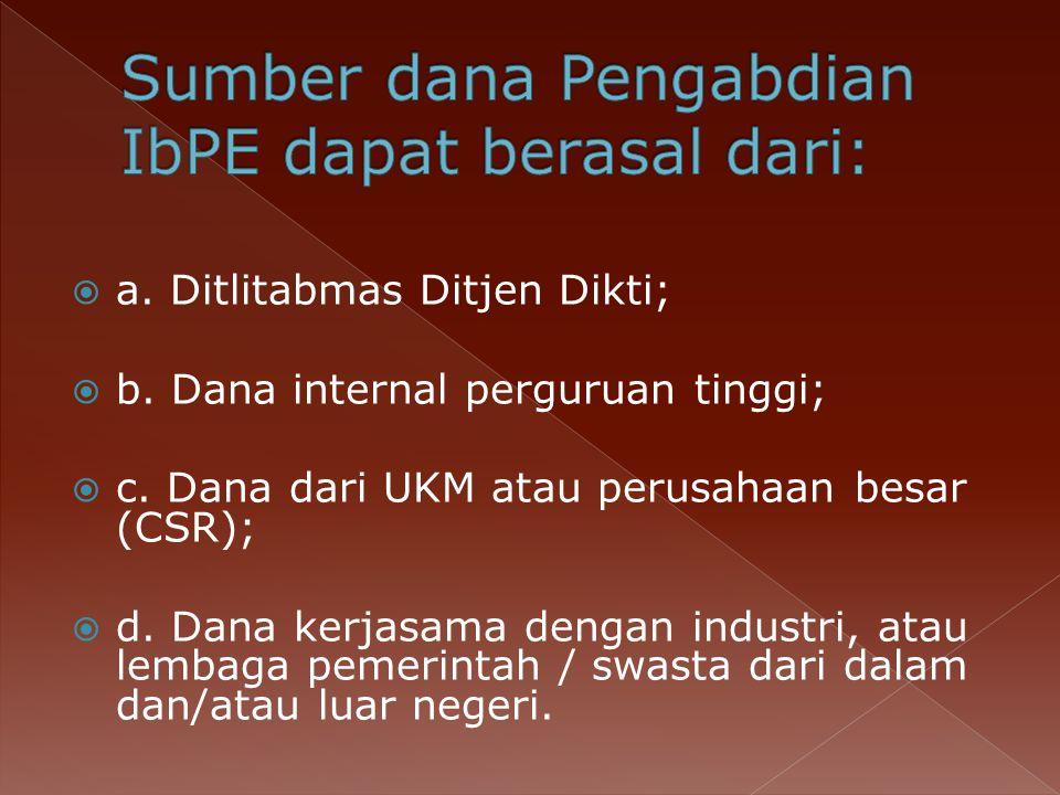 Sumber dana Pengabdian IbPE dapat berasal dari:
