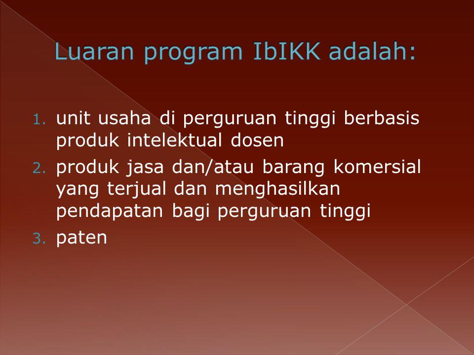 Luaran program IbIKK adalah: