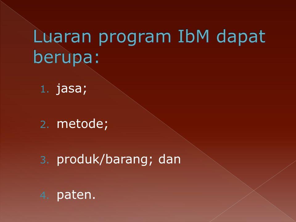 Luaran program IbM dapat berupa: