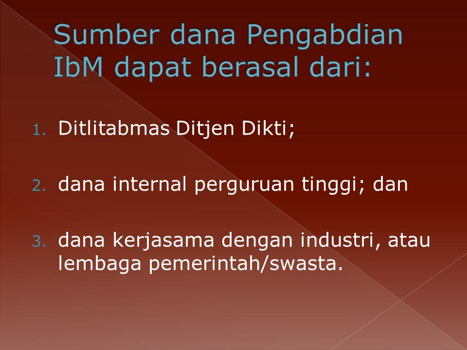 Sumber dana Pengabdian IbM dapat berasal dari: