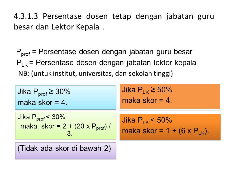 4.3.1.3 Persentase dosen tetap dengan jabatan guru besar dan Lektor Kepala .
