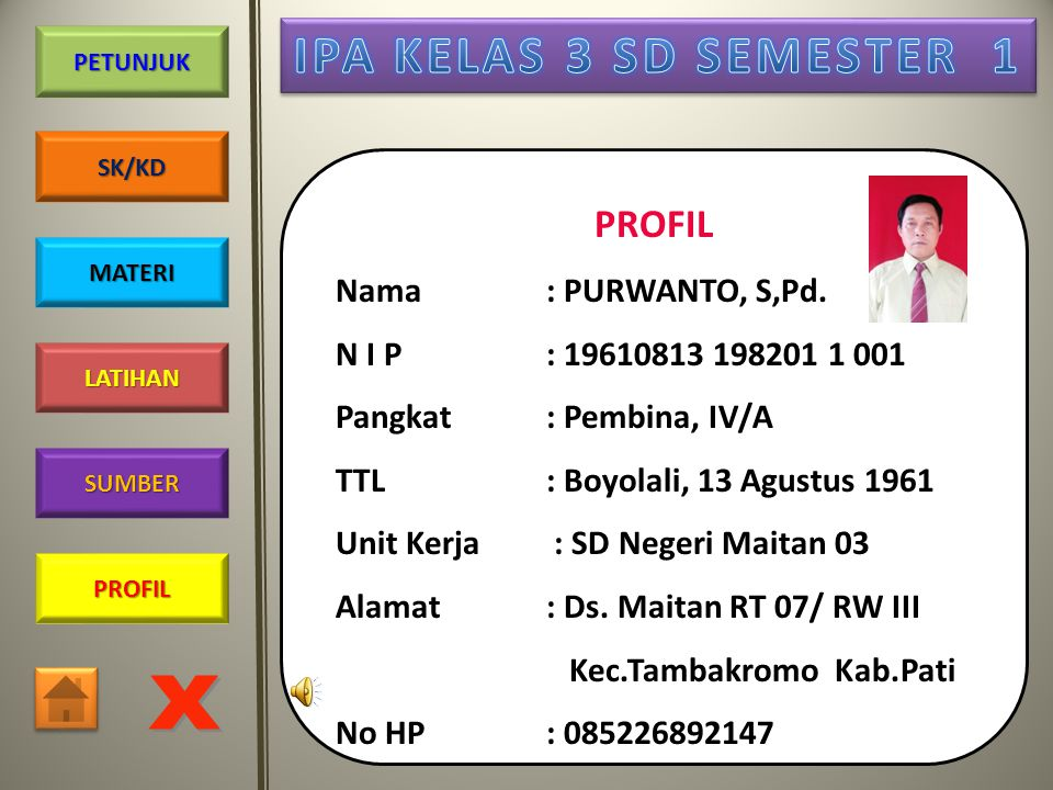 PROFIL Nama : PURWANTO, S,Pd. N I P : 19610813 198201 1 001