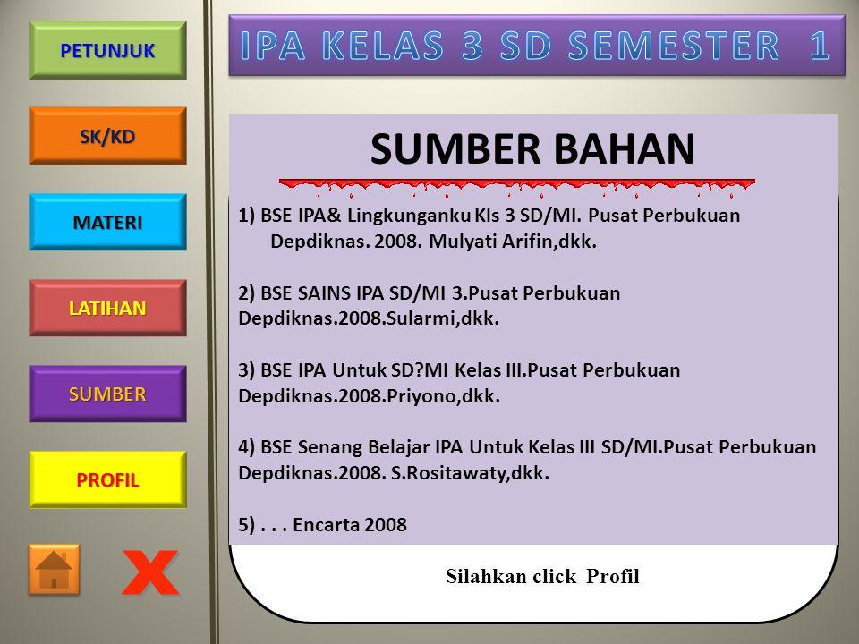 SUMBER BAHAN 1) BSE IPA& Lingkunganku Kls 3 SD/MI. Pusat Perbukuan Depdiknas. 2008. Mulyati Arifin,dkk.