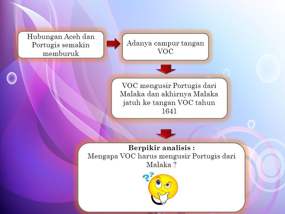 Hubungan Aceh dan Portugis semakin memburuk Adanya campur tangan VOC