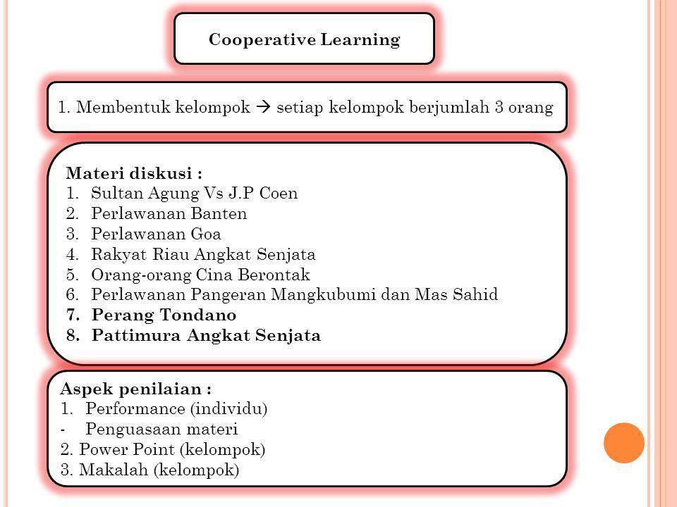 Cooperative Learning 1. Membentuk kelompok  setiap kelompok berjumlah 3 orang. Materi diskusi : Sultan Agung Vs J.P Coen.