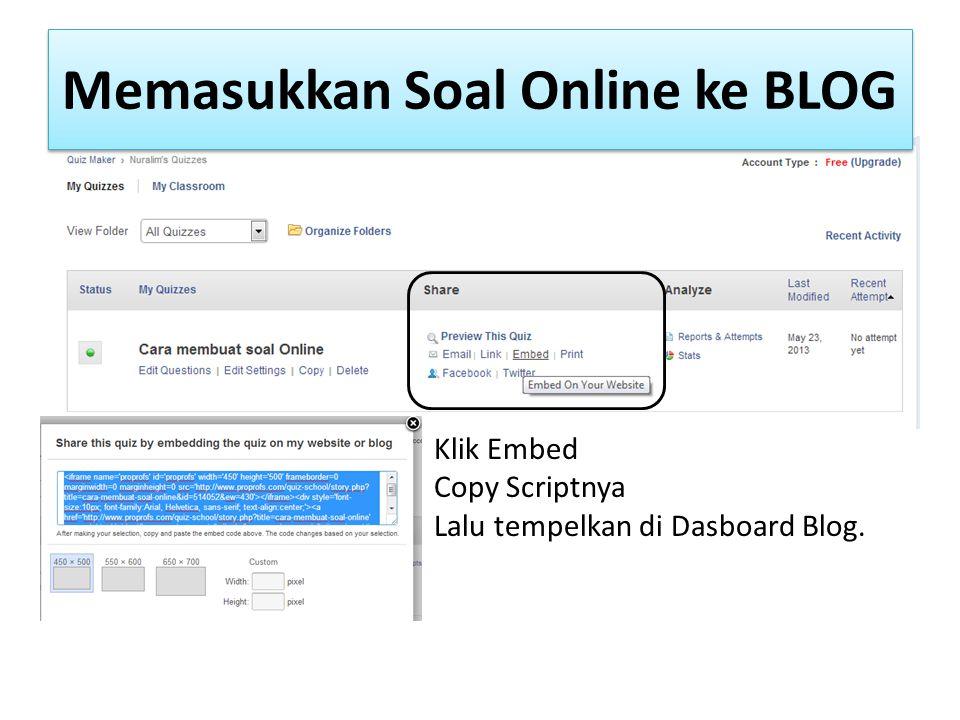 Memasukkan Soal Online ke BLOG
