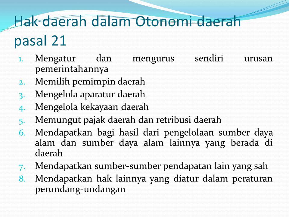 Hak daerah dalam Otonomi daerah pasal 21