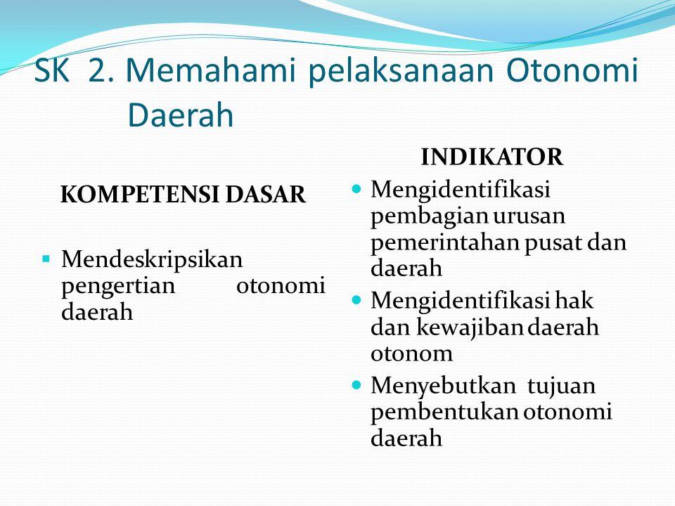 SK 2. Memahami pelaksanaan Otonomi Daerah