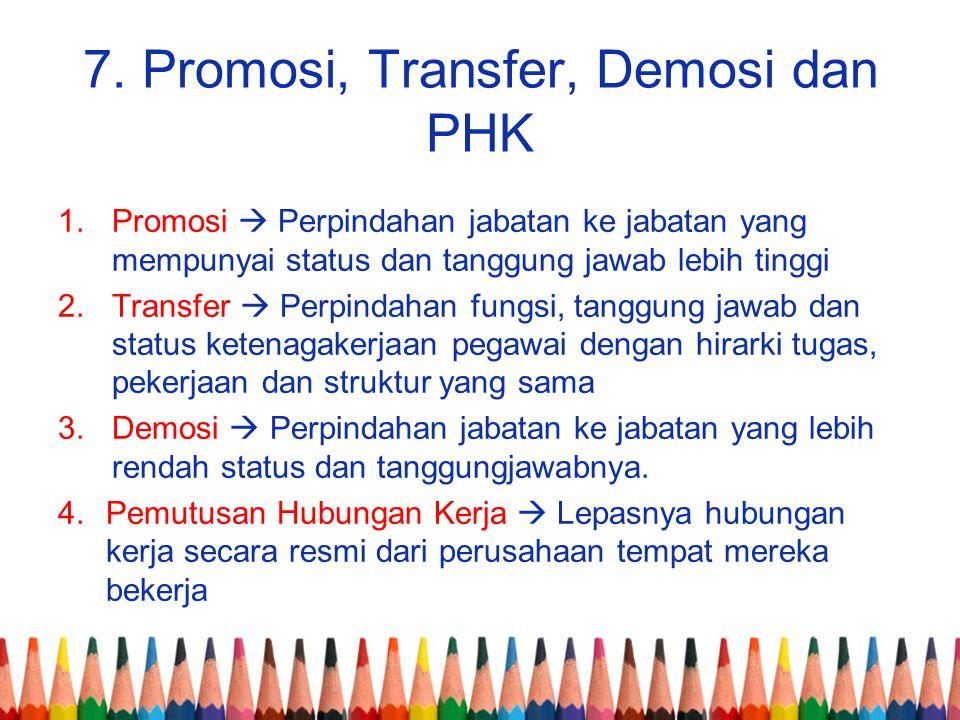 7. Promosi, Transfer, Demosi dan PHK