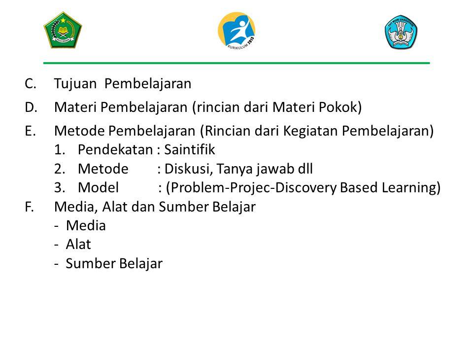 C. Tujuan Pembelajaran. D. Materi Pembelajaran (rincian dari Materi Pokok) E. F. Metode Pembelajaran (Rincian dari Kegiatan Pembelajaran)