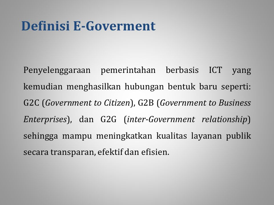 Definisi E-Goverment