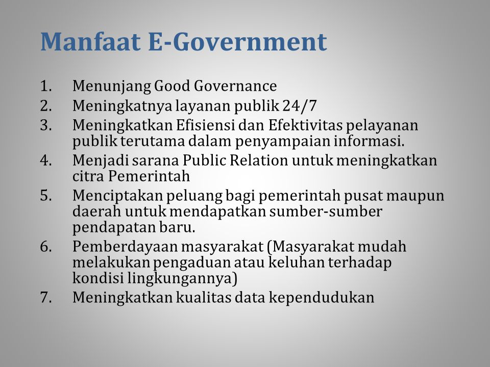 Manfaat E-Government Menunjang Good Governance