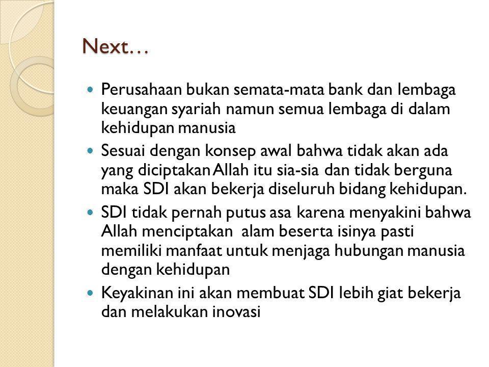 Next… Perusahaan bukan semata-mata bank dan lembaga keuangan syariah namun semua lembaga di dalam kehidupan manusia.