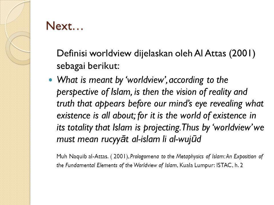 Definisi worldview dijelaskan oleh Al Attas (2001) sebagai berikut: