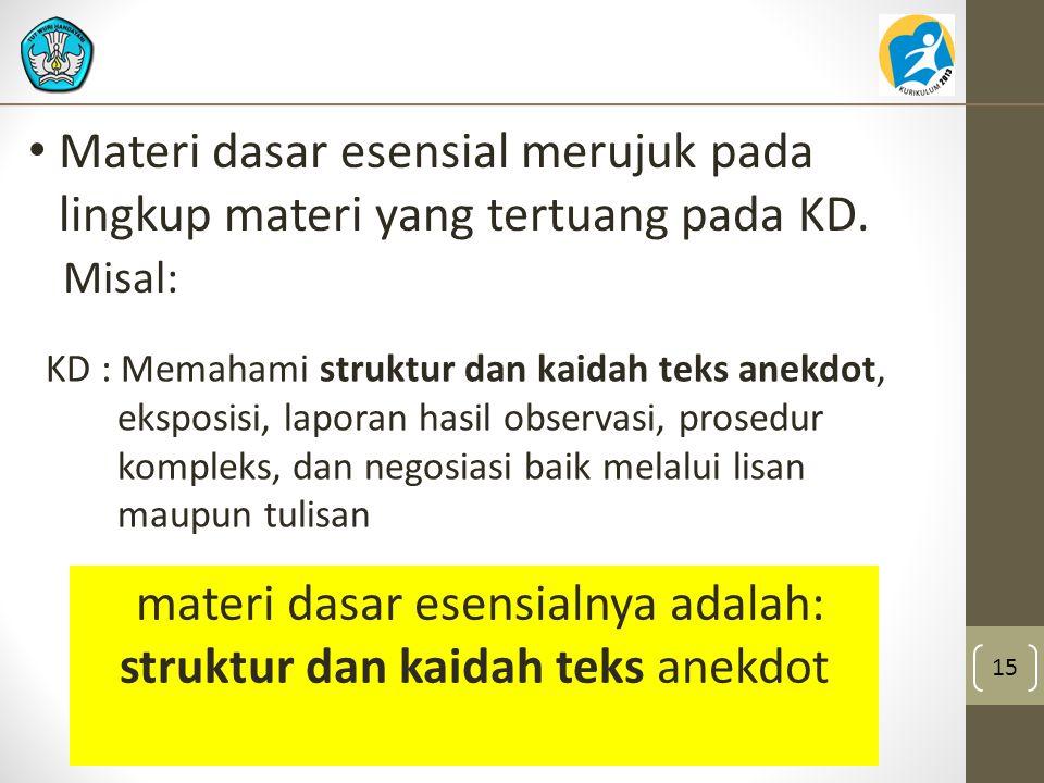 materi dasar esensialnya adalah: struktur dan kaidah teks anekdot