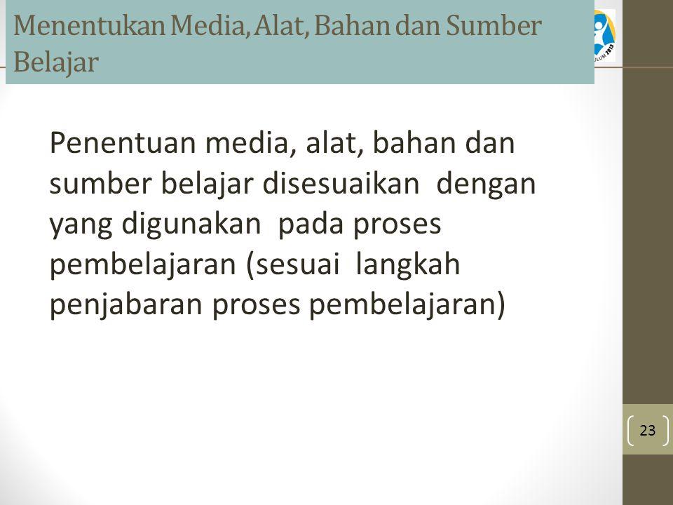 Menentukan Media, Alat, Bahan dan Sumber Belajar