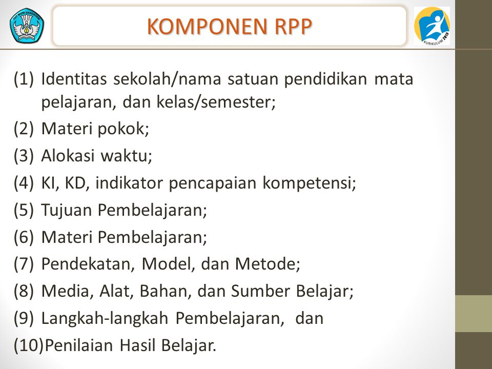 KOMPONEN RPP Identitas sekolah/nama satuan pendidikan mata pelajaran, dan kelas/semester; Materi pokok;