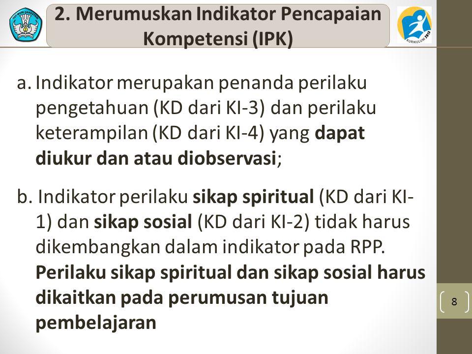 2. Merumuskan Indikator Pencapaian Kompetensi (IPK)