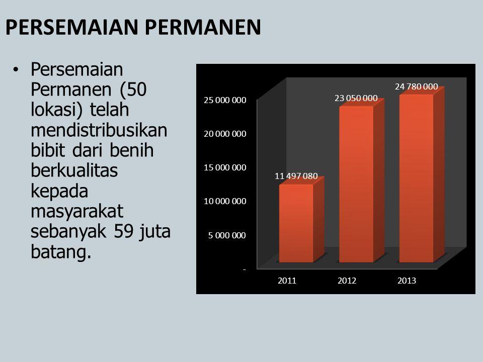 PERSEMAIAN PERMANEN Persemaian Permanen (50 lokasi) telah mendistribusikan bibit dari benih berkualitas kepada masyarakat sebanyak 59 juta batang.
