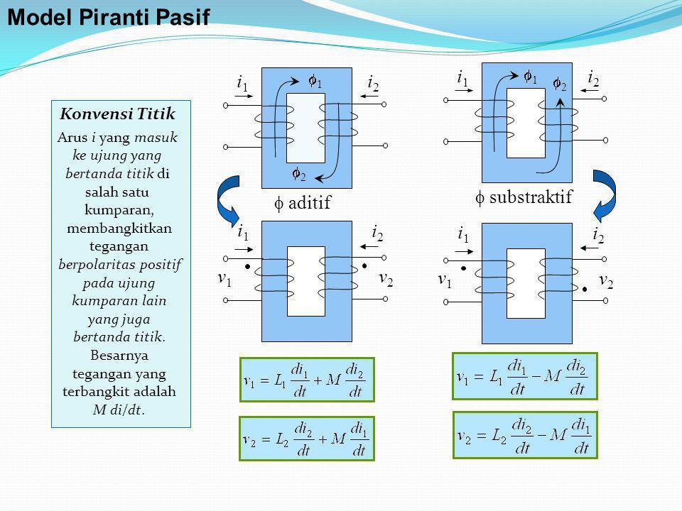 Model Piranti Pasif  substraktif i1 i2  aditif i1 i2 i1 i2 v1 v2 i1