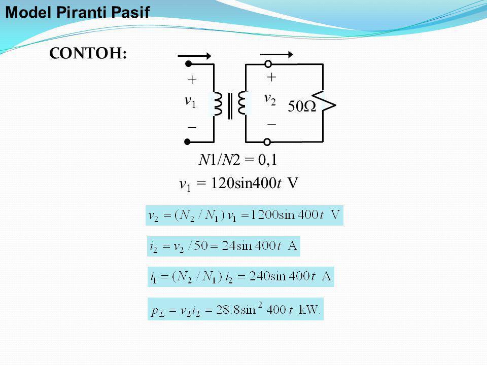 Model Piranti Pasif CONTOH: + v1 _ v2 50 N1/N2 = 0,1 v1 = 120sin400t V