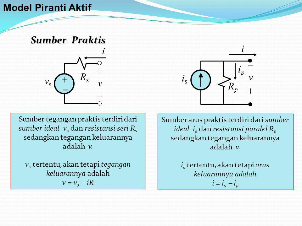 Model Piranti Aktif Sumber Praktis i i  ip + v Rs v is + vs  _ Rp