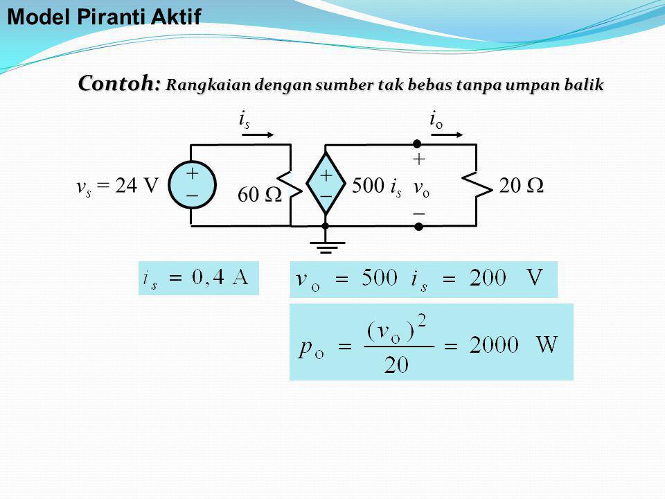 Model Piranti Aktif Contoh: Rangkaian dengan sumber tak bebas tanpa umpan balik. +  is. 20  vs = 24 V.