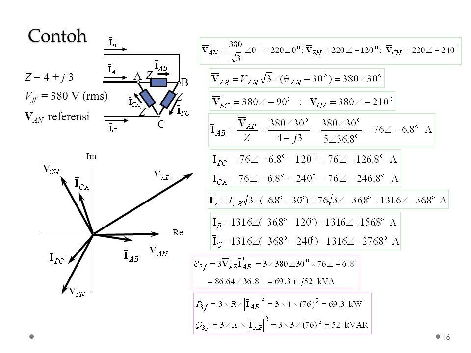 Contoh B C A Z Z = 4 + j 3 Vff = 380 V (rms) VAN referensi Re Im
