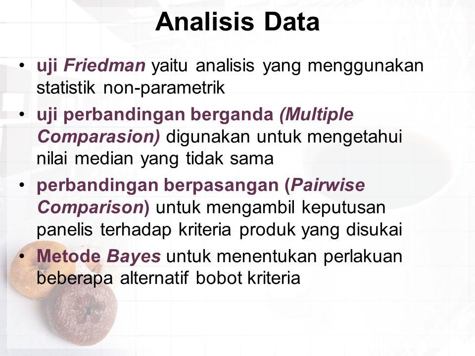 Analisis Data uji Friedman yaitu analisis yang menggunakan statistik non-parametrik.