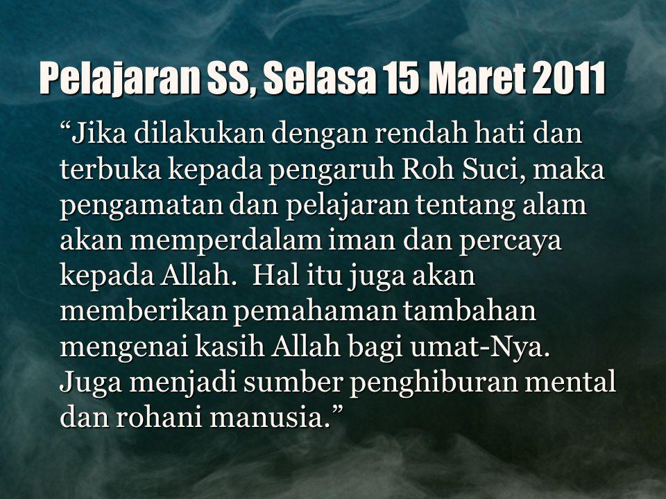 Pelajaran SS, Selasa 15 Maret 2011