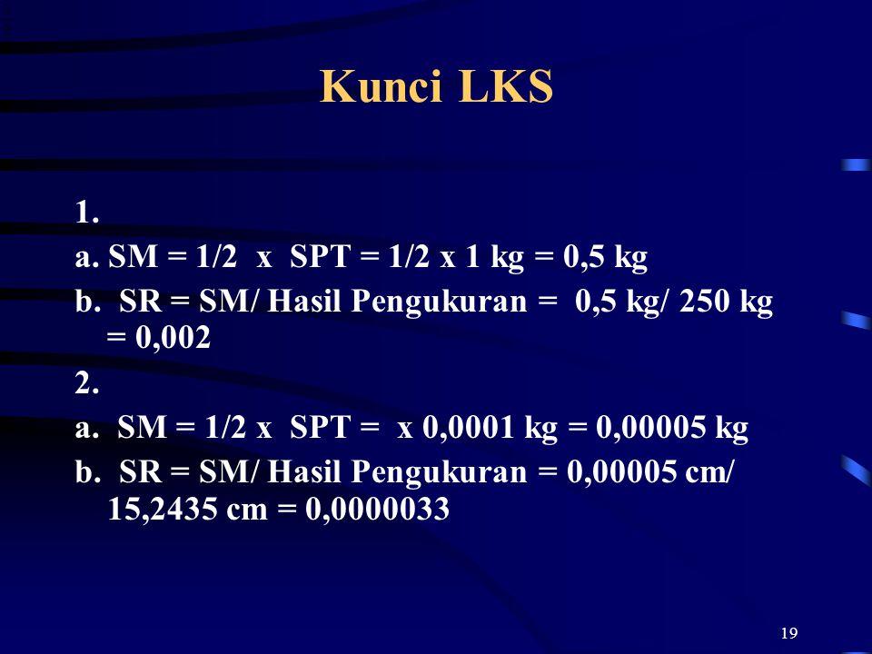 Kunci LKS 1. a. SM = 1/2 x SPT = 1/2 x 1 kg = 0,5 kg