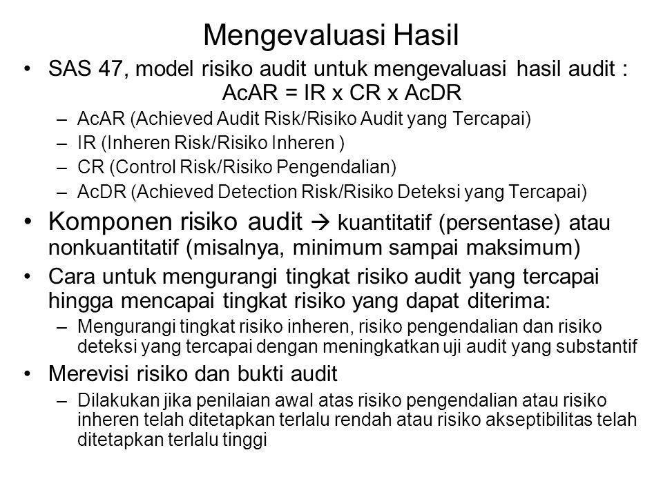 Mengevaluasi Hasil SAS 47, model risiko audit untuk mengevaluasi hasil audit : AcAR = IR x CR x AcDR.