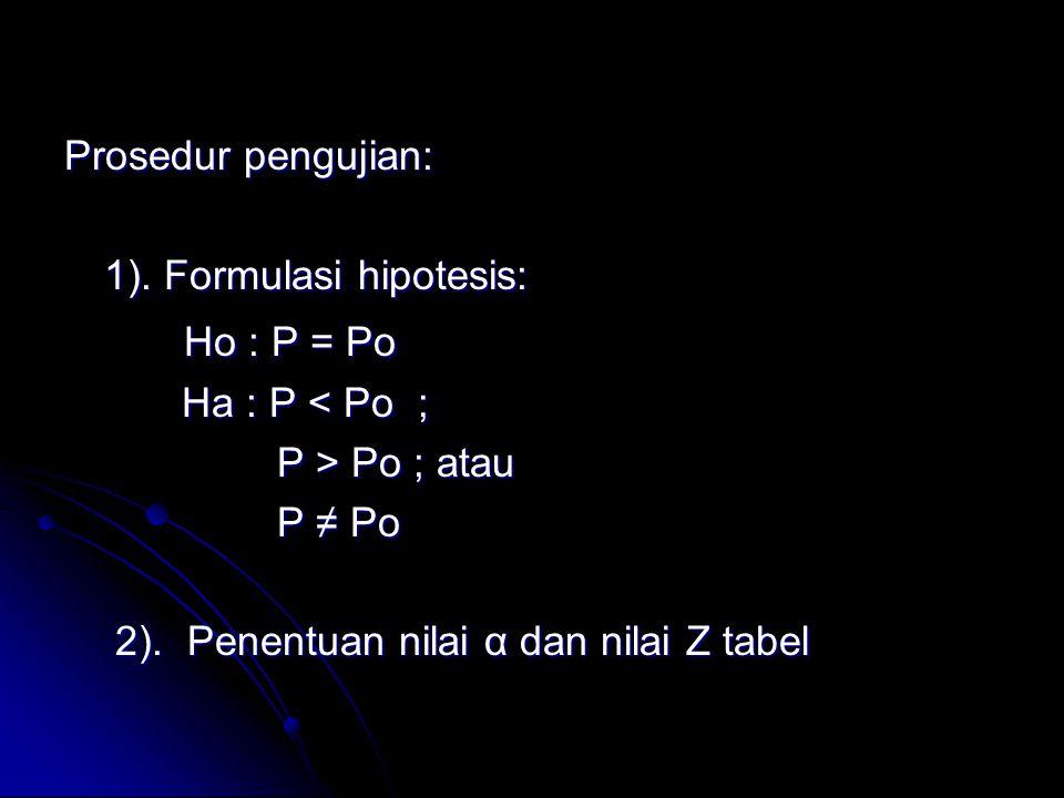 Ho : P = Po Prosedur pengujian: 1). Formulasi hipotesis: