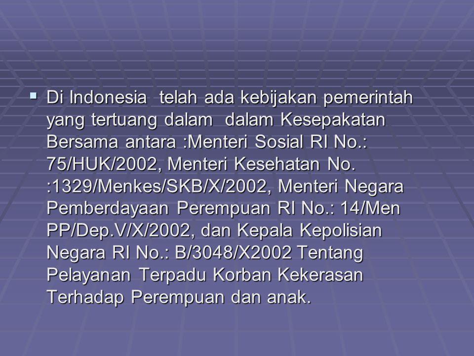 Di Indonesia telah ada kebijakan pemerintah yang tertuang dalam dalam Kesepakatan Bersama antara :Menteri Sosial RI No.: 75/HUK/2002, Menteri Kesehatan No.