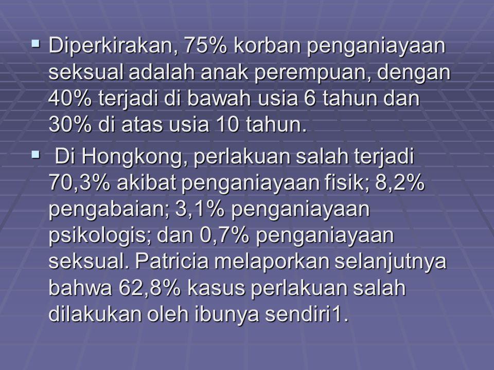 Diperkirakan, 75% korban penganiayaan seksual adalah anak perempuan, dengan 40% terjadi di bawah usia 6 tahun dan 30% di atas usia 10 tahun.