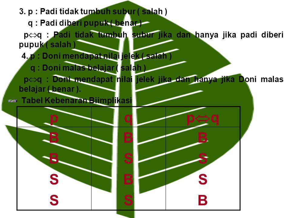 p q pq B S 3. p : Padi tidak tumbuh subur ( salah )