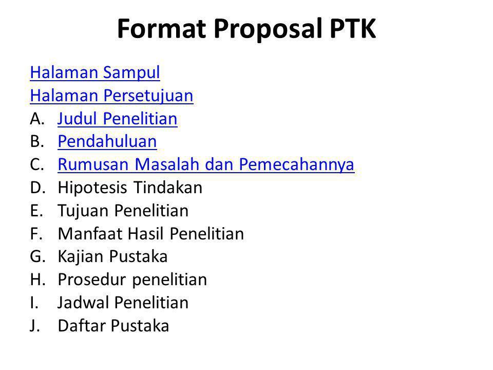 Format Proposal PTK Halaman Sampul Halaman Persetujuan