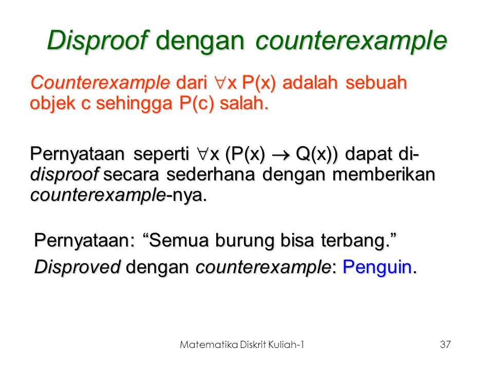 Disproof dengan counterexample