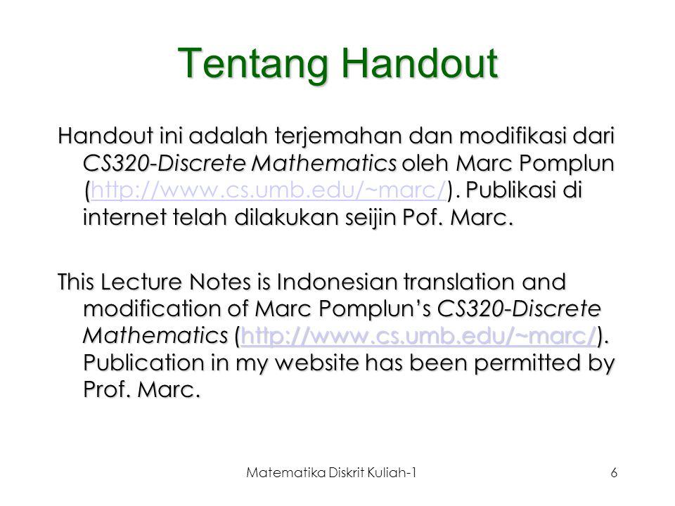 Matematika Diskrit Kuliah-1