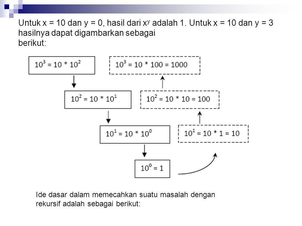 Untuk x = 10 dan y = 0, hasil dari xy adalah 1