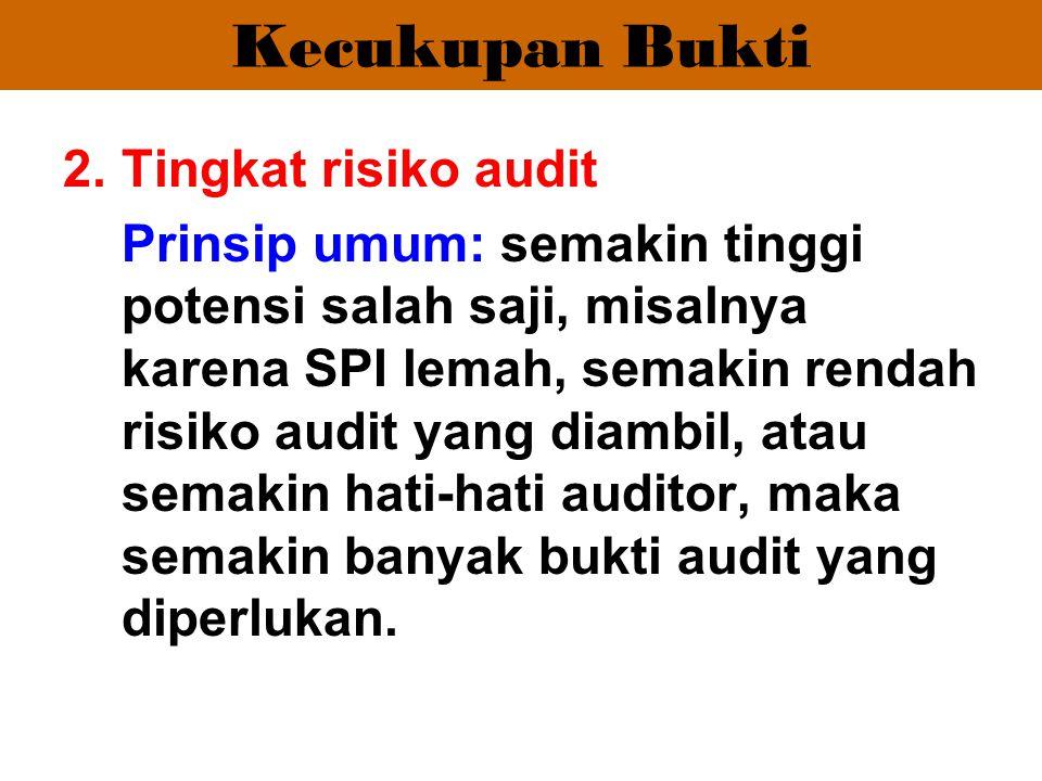 Kecukupan Bukti Tingkat risiko audit