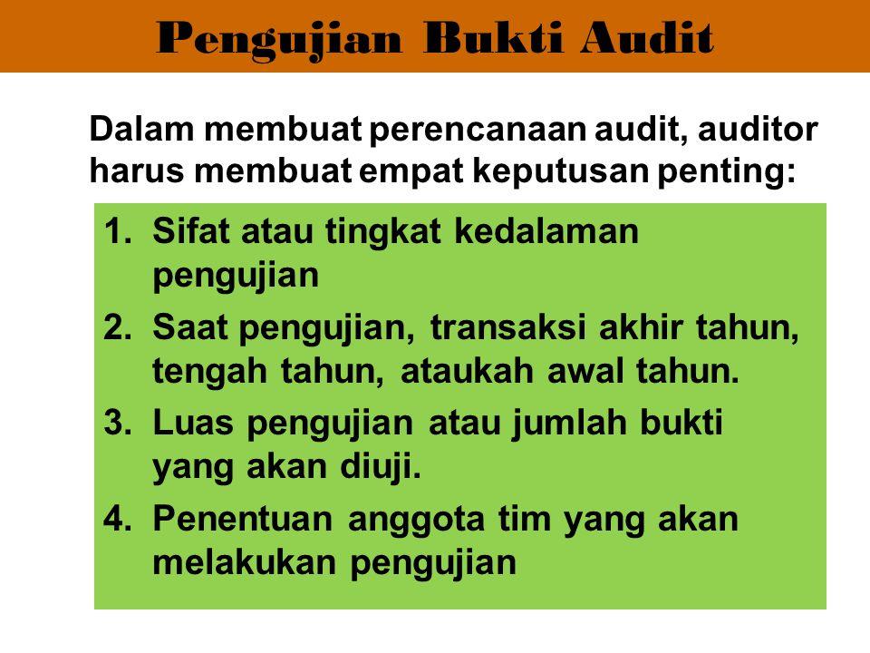 Pengujian Bukti Audit Sifat atau tingkat kedalaman pengujian