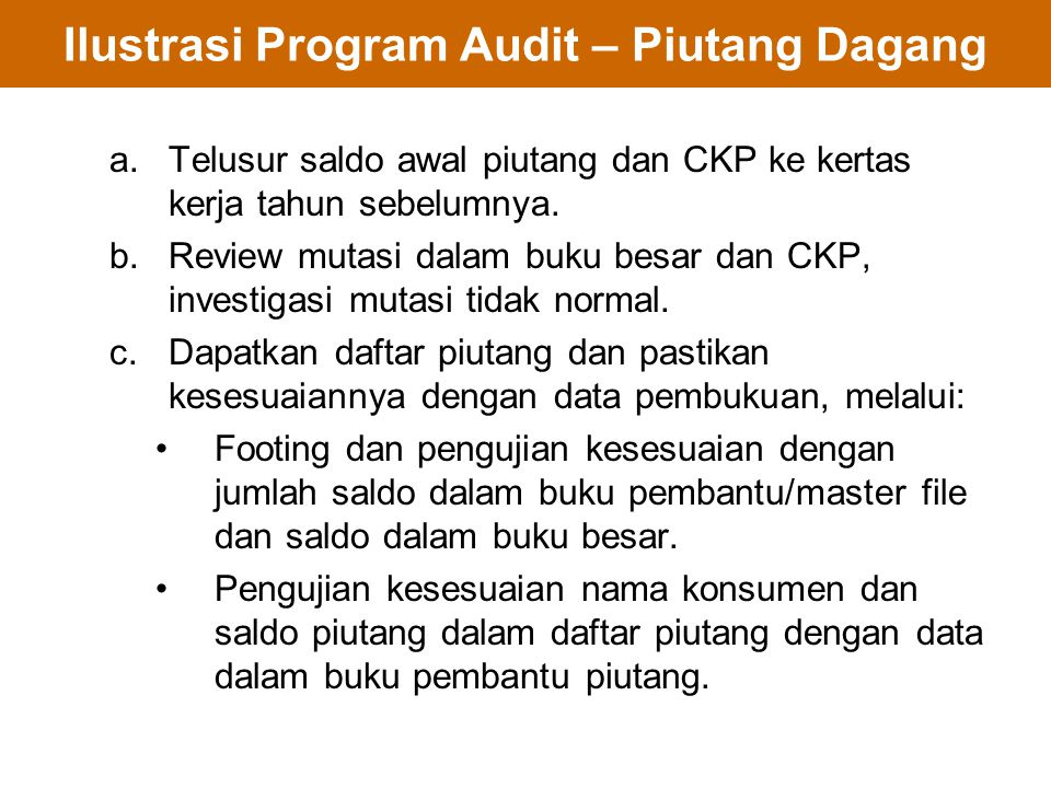 Ilustrasi Program Audit – Piutang Dagang