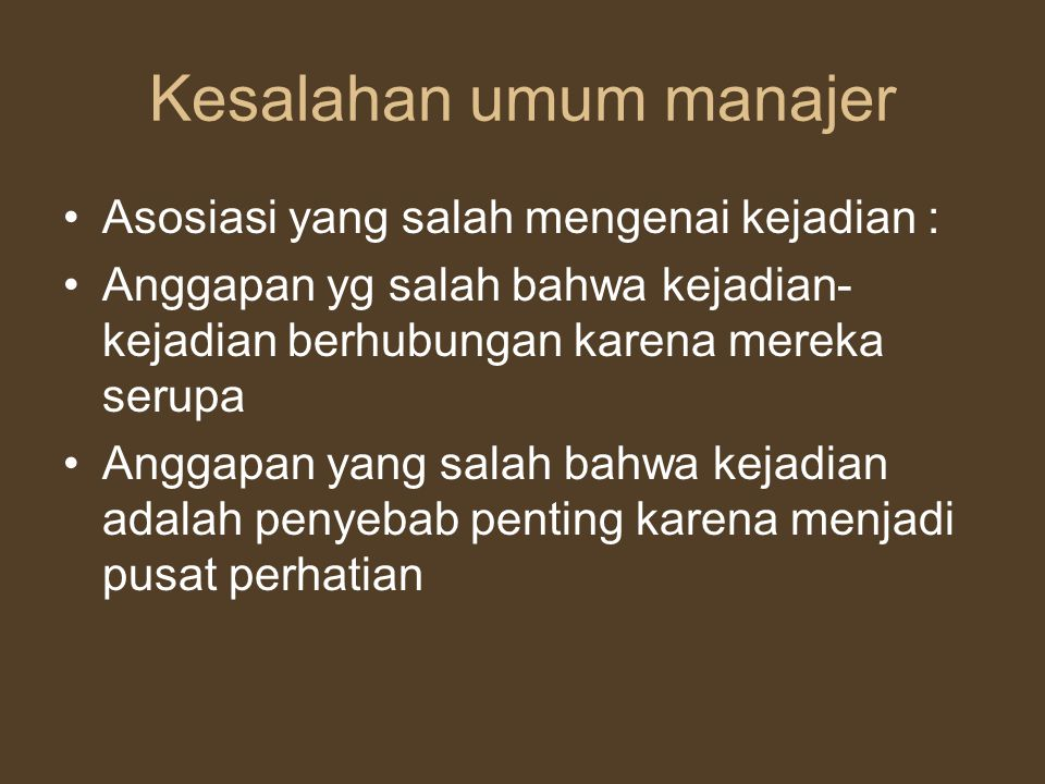 Kesalahan umum manajer