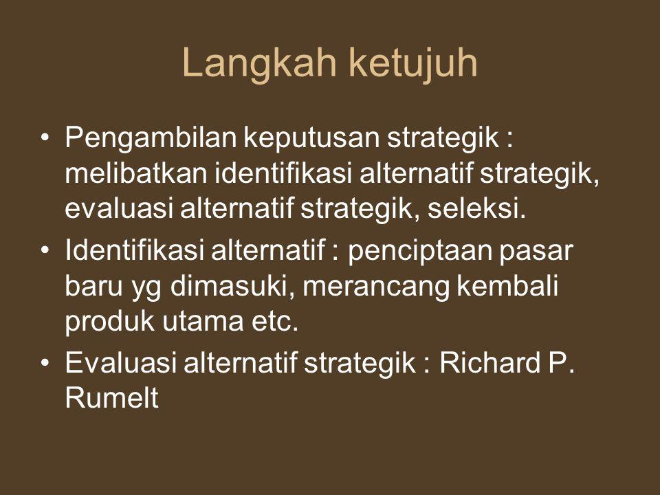 Langkah ketujuh Pengambilan keputusan strategik : melibatkan identifikasi alternatif strategik, evaluasi alternatif strategik, seleksi.