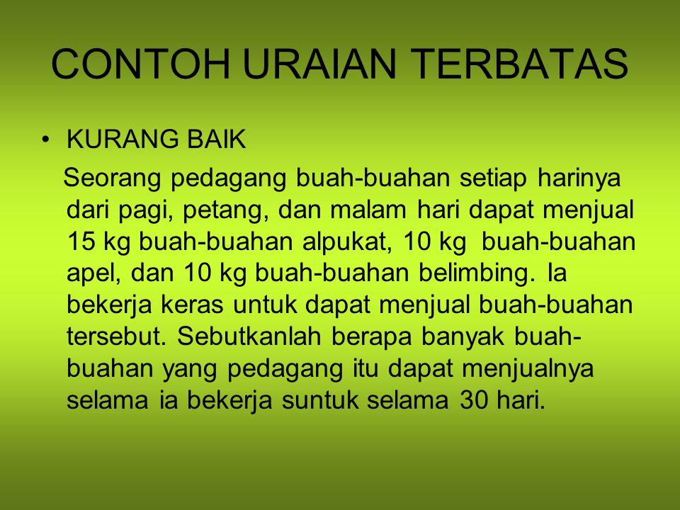 CONTOH URAIAN TERBATAS
