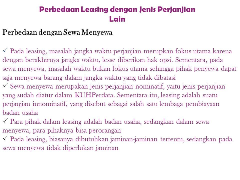 Perbedaan Leasing dengan Jenis Perjanjian Lain