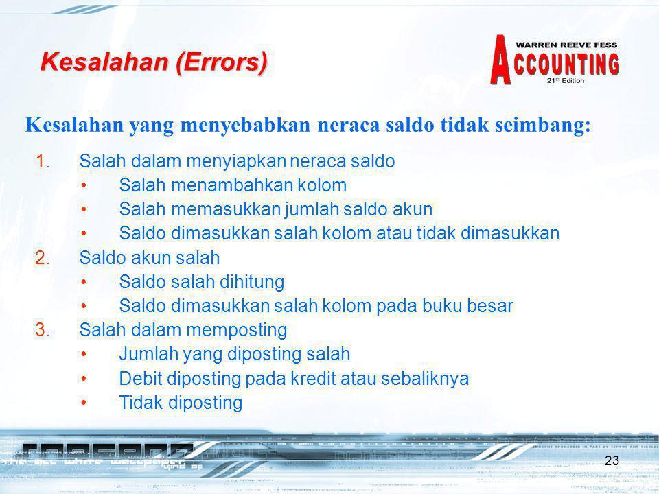 Kesalahan (Errors) Kesalahan yang menyebabkan neraca saldo tidak seimbang: Salah dalam menyiapkan neraca saldo.