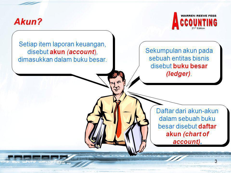 Akun Setiap item laporan keuangan, disebut akun (account), dimasukkan dalam buku besar.